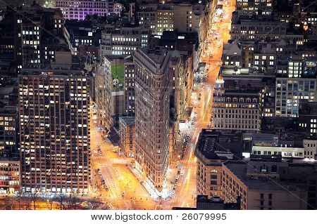 NEW YORK CITY, NY, USA - MAR 30: Flatiron Building at night on March 30, 2011 in Manhattan, New York City. Flatiron Building is designed by Chicago's Daniel Burnham and is New York City landmark.