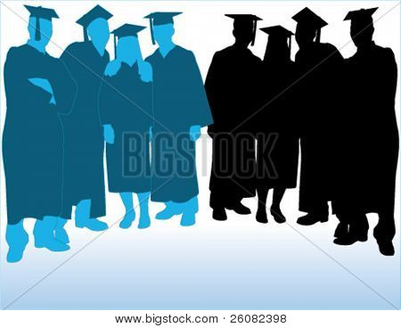 Vector silhouettes of a group of graduates in two-tone blue and black.