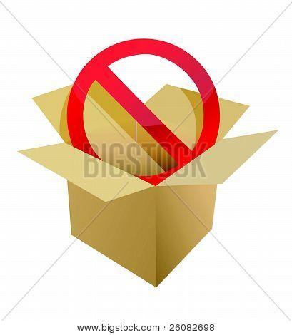 Red stop symbol in carton box illustration design