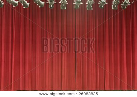 Stage curtain with stage lights