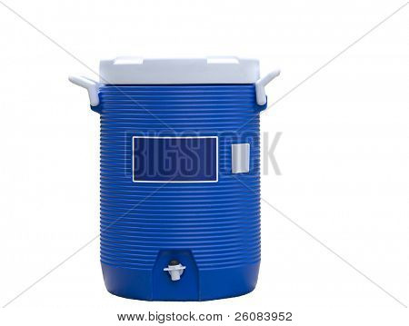 Blue water cooler isolated on white
