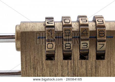 macro shot of combination Padlock
