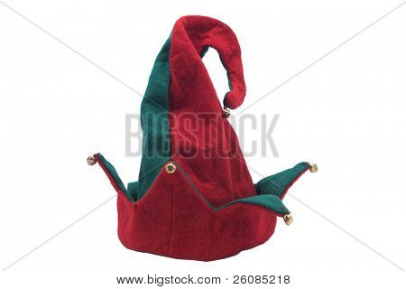 Jester style christmas hat. Isolated on white