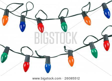 two strings of christmas lights isolated on white