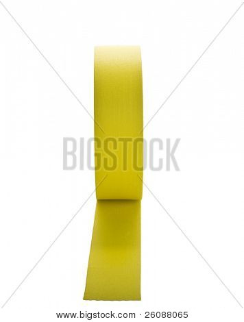 Yellow gaffers tape on roll isolated on white
