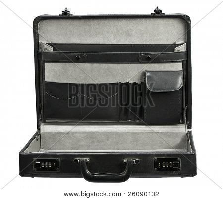 Open empty Black leather briefcase isolated on white