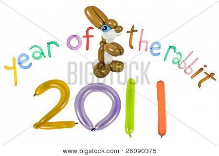 New Year's fun balloon card front