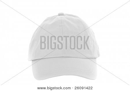 White Baseball Cap isolated on white