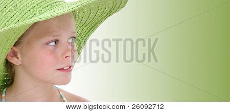 Beautiful Young Girl In Big Green Beach Hat.