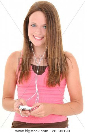 Beautiful Fourteen Year Old Teen Listening To Music. Shot in studio over white.