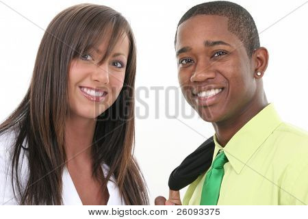 Close-up of a businessman and businesswoman. Shot in studio over white.