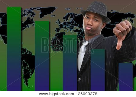 Businessman With Thumb Down Over Falling Graph Background.  Blue and green graph.