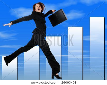 Happy Successful Business Woman Jumping and Smiling.  Blue cloud graph background.