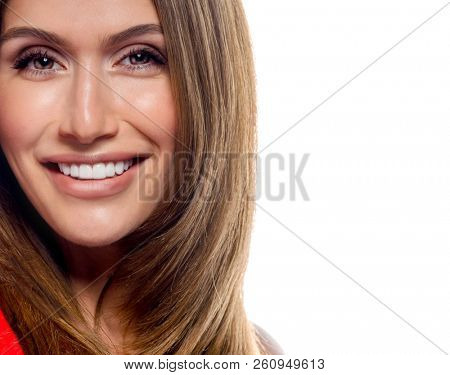 poster of beauty portrait of attractive young caucasian smiling happy cheerful woman  isolated on white studio