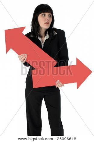 Teen girl in suit standing with red arrows.  Unsure about her future.  Clipping path included.