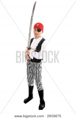 Child Wearing A Pirate Costume