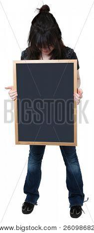 Beautiful sixteen year old highschool student with blank chalkboard.