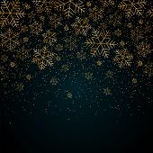 Christmas New Year Background With Gold Snowflakes And Glitter Blue Festive Winter Background Christ poster