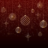 Christmas Background Gold Balls Toys Stars Snow Glitter On A Red Background A Festive Background For poster