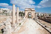 Постер, плакат: Восточные ворота в Джераше Римская древний город из Geraza Иордания
