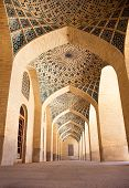 Passage with pillars of Prayer Hall, , Nasir al-Molk Mosque, Shiraz, Iran