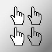 Hand Mouse Cursor Icon. Pointer Hand Cursor Icons, Pixel Vector Hand Cursor Symbol. poster