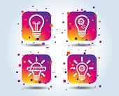 Light Lamp Icons. Lamp Bulb With Cogwheel Gear Symbols. Idea And Success Sign. Colour Gradient Squar poster