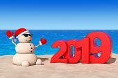 Sandy Christmas Snowman At Sunny Beach With 2019 New Year Sign Extreme Closeup. 3d Rendering poster