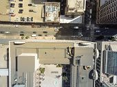 Vertical View Busy Intersection At Union Square, San Francisco, California poster
