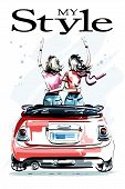 Hand Drawn Beautiful Young Women In Red Car. Stylish Elegant Girls. Two Girls Embracing Each Other.  poster