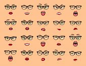 Comic Emotions. Woman With Glasses Facial Expressions, Gestures, Emotions Happiness Surprise Disgust poster
