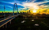 Dallas , Texas , Aerial Drone View Next To Suspension Bridge Margaret Hunt Hill Bridge With Sunrise  poster