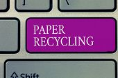 Conceptual Hand Writing Showing Paper Recycling. Business Photo Text Using The Waste Papers In A New poster