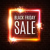Black Friday Banner. Seasonal Sale Design Template. Black Friday Light Frame On Brick Wall. Glowing  poster