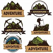 Set Of Camping Logos, Templates, Vector Design Elements, Outdoor Adventure Mountains And Forest Expe poster