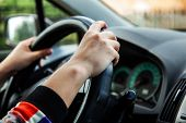 Girl Driving A Car, Hands Of A Girl On The Wheel poster