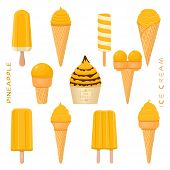 Vector Illustration For Natural Pineapple Ice Cream On Stick, In Paper Bowls, Wafer Cones. Ice Cream poster