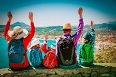 Happy Family With Kids Travel Together, Looking At Scenic View poster
