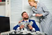 Office Manager Administrator Holds Bank Card. Man Business Owner Sit Office Pile Of Money. Bank Assi poster