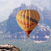A Group Of Tourists On Airport Mesa Watch A Hot Air Balloon Soaring Above Coconino National Forest,  poster
