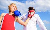 Couple Boxing Painful Face Suffer Headache. Migraine Ache Attack. Headache Attack Concept. Man And W poster