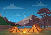 Vector Illustration Of Camping In Night Time With Beautiful View On Mountains. Family Camping Evenin poster