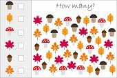How Many Counting Game With Autumn Pictures For Kids, Educational Maths Task For The Development Of  poster