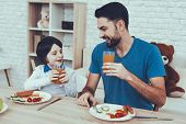 Juice. Sweet Boy. Spends Time. Father Of Boy. Having Breakfast. Happy Together. Man. Son. Engaged. R poster