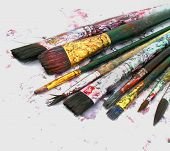foto of paint brush  -  old paint brushes - JPG
