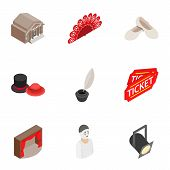 Culture And Art Icons Set. Isometric 3d Illustration Of 9 Culture And Art Icons For Web poster