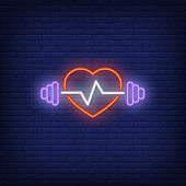 Barbell, Heart And Cardiogram Neon Sign. Fitness Club, Sport And Advertisement Design. Night Bright  poster