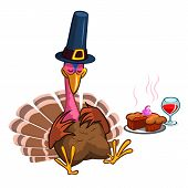Thanksgiving Cartoon Turkey Character Sleeping. Isolated Vector Illustration Clipart poster