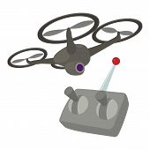 Rc Helicopter Icon. Cartoon Illustration Of Rc Helicopter Icon For Web poster