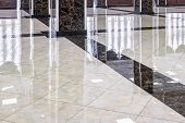 Marble Floor In The Luxury Lobby Of Office Or Hotel. Real Floor Tile Pattern With Reflections For Ba poster